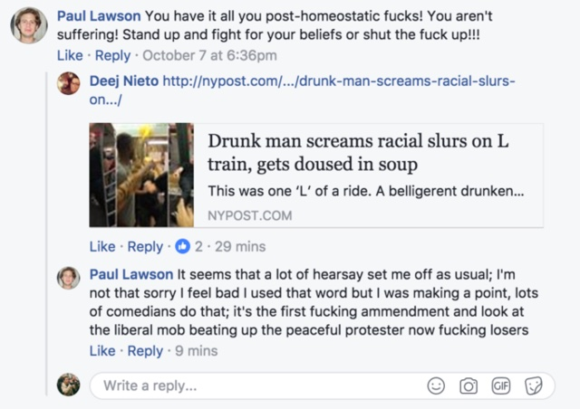 Lawson deleted his Facebook comments after trying to explain himself