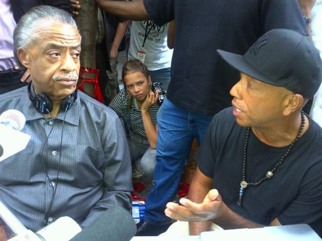 Rev. Al Sharpton and Russell Simmons in Zuccotti Park