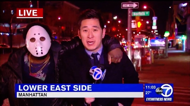 Man in hockey mask who attacked reporter on live TV