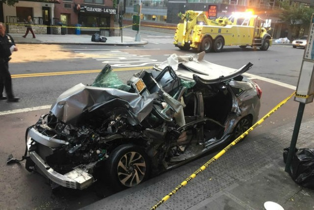New York City horrific multiple crash after vehicle blows red light