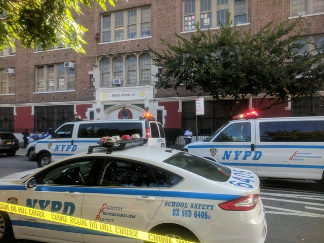 NYPD at scene of fatal stabbing at Bronx public school