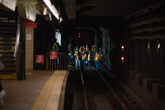 Emergency personnel at NYC subway station