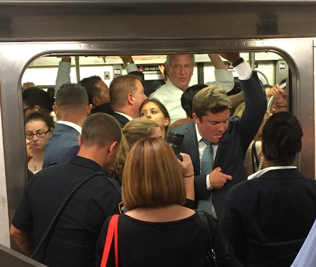Mayor de Blasio riding the 7 train last month