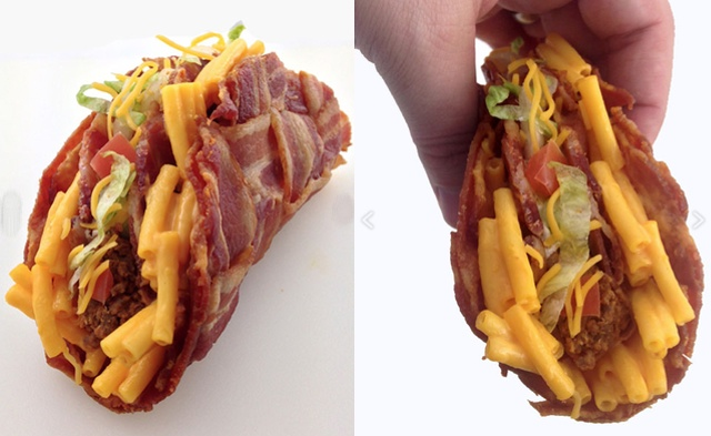 Behold The Mac & Cheese-Stuffed Bacon Weave Taco You've Been Dreaming Of
