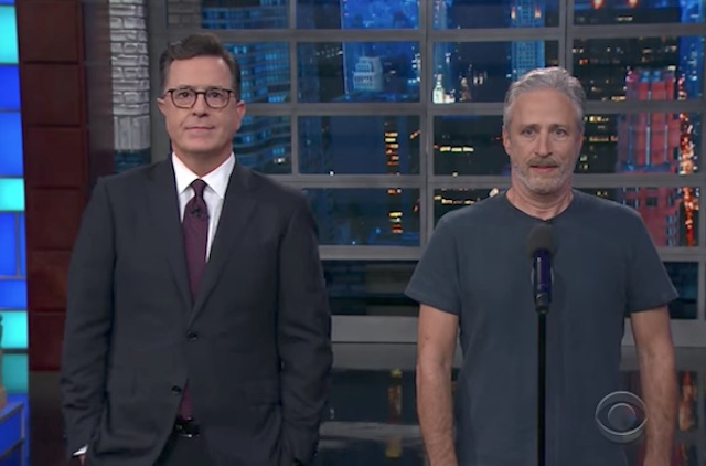 Watch Stephen Colbert And Jon Stewart Try To Give Trump 'Equal Time'